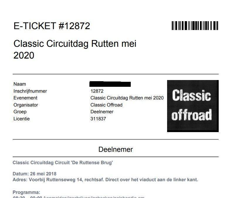 E-ticket voor een evenement